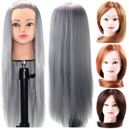 Wholesale Hairdressing Heads - Mannequin Head Salon Hairdressing Cut Training Professional Mannequin Hairdressing 24 inch Wash Hat Haircut Long Synthetic Wig Hair