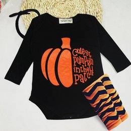 Wholesale Cotton Newborn Baby Socks - Baby Halloween Costumes Fashion Newborn Baby infant boy girl Clothes set Baby Rompers Halloween Pumpkin Romper headband socks 3pcs set