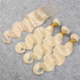Wholesale Dyed Peruvian Lace Closure - 8A Human Peruvian Hair With Closure Body Wave 613 Color Blonde Hair With Lace Closure Peruvian Hair Bundles With Closure 4Pcs Lot