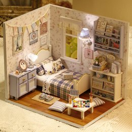 Wholesale Happy Houses - Wholesale- DIY Handmake Wooden Dollhouse Miniature Kit Happy Living Room With Cover Furniture Cute bedroom Model Girl Doll House Room Box