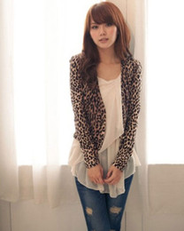 Wholesale Double Breasted Shrug Jacket - Wholesale-Sexy Women attractive Brown Leopard Print Double Breast Shrug Jacket Tops BKLB++