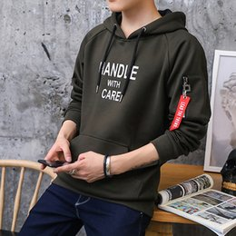 Wholesale Mens Korean Style Hoodies - New Fashion Winter Korean Style Mens Hoodies Casual Contrast Color Long Sleeve Army Green Hooded Clothing For Men