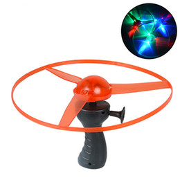 Wholesale Toys Spin Flying Saucer - Funny Outdoor Toy Frisbees Boomerangs Flying Saucer Helicopter Spin Disk LED Light
