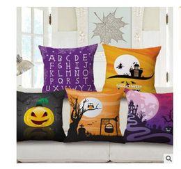 Wholesale Halloween Party Treats - Pillow Case Halloween Cotton Linen Pumpkin Trick Or Treat Throw Pillow Cover Car Sofa Cushion Cover Home Party Decorative Pillowcase
