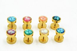 Wholesale Gold Ear Plugs Tunnels - 50pcs Opal Stainless Steel Opal Fake Ear Plugs,Fake Plugs Tunnels Ear Studs Gold Color look 10mm