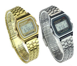 Wholesale Retro Vintage Watches Men - F-91W LCD Digital Watches Stainless Steel Vintage Retro Watches for Woman Man Silver Gold Color Famous Brand Electronic Watch with Logo