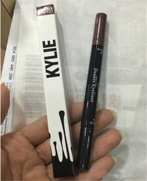 Wholesale Double Side Black Color - HOT Kylie double eyebrow pencil Jenner eyeliner cosmetics side makeup tool for dark eyes brow pencils Liquide waterproof Black and brown