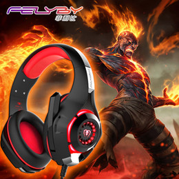 Wholesale Computer Usb Headset - New for mobile phone PS4 PSP PC Gaming Headphones 3.5mm+usb Wired Headset with Microphone LED Lamp Noise Canceling Headphone