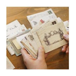 Wholesale Small Invitations Card - Wholesale- 24 Pcs lot Kawai Small Mini Kraft Paper Envelope Window Envelopes For Wedding Invitation Gift Envelope Greeting Card 73*95mm