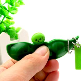 Wholesale Keychains Children Wholesale - HOT Anti Stress Keychain Extrusion Pea Bean Soybean Edamame Antistress Relieve Keychain Jokes Children Gift Squeeze Toy Gadget Green soybean