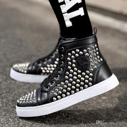 Wholesale Mens Hip Hop Shoes - Brand New Rivet male Masculino Hombr Hip-hop Mens Shoes Casual Shoes High Top Men Boots Los Zapatos de Hombre Sport Trainers