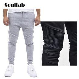 Wholesale harem skinny sweatpants - Wholesale-Fashion Biker Joggers Slim Fit Skinny Sweatpants Harem Pants Men Hip Hop Swag Clothes Clothing high street Gray Black Kanye West