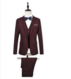 Wholesale Long Sleeve Red Formal For Men - (Jacket+Pants+Vest) New Mens Suits Wedding Suits For Men Slim Fit Costume Homme Bussiness formal occasion men suit