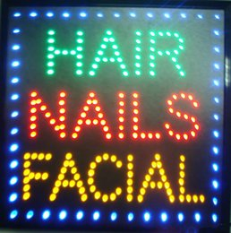 Wholesale Salon Light Signs - New arriving customized 19*19 inch led light sign Hair Nails Facial beauty salon care shop signs eye-catching slogans Wholesale