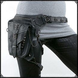 Wholesale Punk Shoulder Bags - Steam punk Shoulder Messenger bag women outdoor phone bags rock retro style waist leg pack travel bags