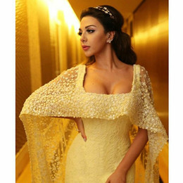 Wholesale Celebrity Style Jacket - 2016 Myriam Fares Beaded Cape Celebrity Evening Dresses Square Lace Sleeveless Sexy Design in Middle East Style Formal Gowns
