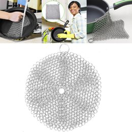Strumento in ghisa online-New Cast Iron Cleaner Acciaio inossidabile 316L Chainmail Pulitore Pan Cleaner Pan Raschietto Ghisa Grill Skillet Utensile da cucina 8 * 8 pollici WX9-85