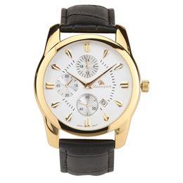 Wholesale Masterpiece Men - Masterpiece brand luxury lather strap watches men Japan quartz movt men's sports watches gold case men's fashion casual watches chronograph