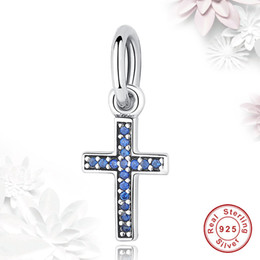 Wholesale Silver Charm Bracelet Pink - BELAWANG 2 Colors 925 Sterling Silver Clear CZ Diamond Beads Fancy Pink&Blue Crystal Cross Charm Fit Pandora Bracelet DIY Jewelry Making