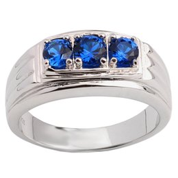 Wholesale 925 Mans Ring Sapphire - 925 Sterling Silver Ring for Men Three-stone Synaptic Blue Sapphire Size 6 to 13 Heavy Finger Wear Fashion Jewelry