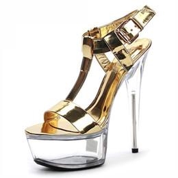 Wholesale Golden Dance Shoes - New Golden Black Crystal Glitter Sandals 15 cm Ultra High Heels Platform Dance Shoes Small Yards Gorgeous 6 Inch Crystal Shoes