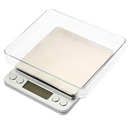 Bancos de aço inoxidável on-line-2000g / 0.1g Balança Digital Kitchen Cooking Medida Ferramentas Aço Inoxidável Eletrônico Peso LCD Eletrônico Banco Balança