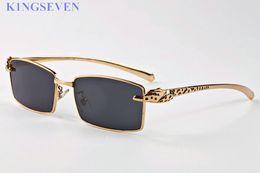 Wholesale Sunglasses Spot - top quality luxury brand sunglasses eyeglasses buffalo horn glasses spot leopard panther gold metal legs designer sunglasses lunettes homme