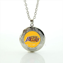 Wholesale rugby popular - Exquisite popular sports style locket necklace MCLONS rugby jewelry football orange picture accessory for women and girls NF057
