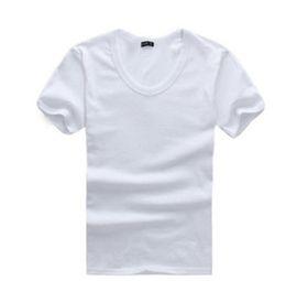 Wholesale Men Plain Black T Shirts - Wholesale-New 2016 Mens Basic Plain T Shirt Cotton Blend Short Sleeves Solid Casual Tee Shirt Tops Black Gray White
