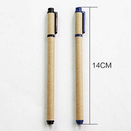 Wholesale Office Environmental - 20pcs lot Kraft Paper Environmental Gel Pens Paper Pen Trendy School Office Home Stationery Writing Pen Free Shipping Material Escolar