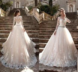 Discount wedding dress crystal sash blush - Milla Nova 2017 Wedding Dresses Jewel Neck Long Sleeves Lace Appliques Beaded A Line Court Train Blush Pink Tulle Plus Size Bridal Gowns