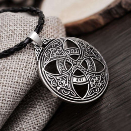 Wholesale Large Love Necklace - New Punk Vinkings Pendant Necklace Large Celttic Knot Love Pendant Viking Norse RUNE Pendant Necklace Wiccan Pagan Asatru Jewelry