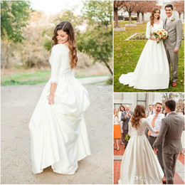 Wholesale pockets bow wedding dress - 2017 Country Wedding Dresses V Neck Three Quarter Sleeves Lace Appliques Satin A Line Court Train Formal Plus Size Bridal Gowns With Pocket