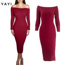 Wholesale Grace Sheath - 2016 new autumn red black grey Knitting slash neck Strapless Dress Grace Fish Tail Style Wrap A Step package Skirt