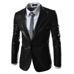 Wholesale Mens Hooded Blazer Jacket - Wholesale- 2016 Spring Single Button Black Deep Green Original Casual PU Suit Jacket Mens Faux Leather Suits Formal Clothes Blazer For Men