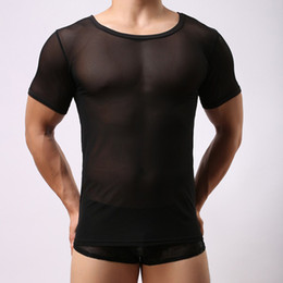 Wholesale Wholesale Sheer T Shirts - Wholesale-Sexy Mens Transparent Sheer Mesh Underwear See Through Short Sleeve T shirt Tops Undershirt Fitness Gym Sports Solid Black White