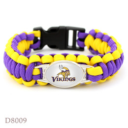 Wholesale Charm Stores - 1pcs lot Hot Football Team Fans Charm Paracord Survival Bracelet Sport Friendship Outdoor Camping Bracelet W8009 Factory Outlet Stores