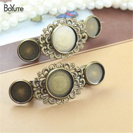 2017 pinces à cheveux rondes BOYuTe 20 pièces 12MM 16MM Round Cabochon Base Hairpin Vente en gros Vintage Diy Hair Clips Jewelry Settings abordable pinces à cheveux rondes