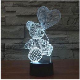 Wholesale Cute Love Teddy Bears - 3D Mood Lamp animal cute teddy bear Bulbing Light Love balloon visual light 3d touch button night light Creative gift lamps