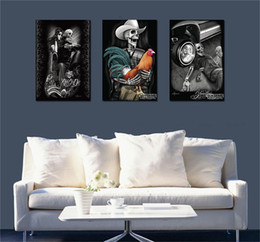 Wholesale Abstract Art Tattoos - Skull Tattoo,3 Pieces Home Decor HD Printed Modern Art Painting on Canvas (Unframed Framed)