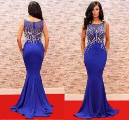 0c8fc462e 2019 vestidos largos gran gatsby Elegante sirena Vestidos de noche azules  Cristal con cuentas largo 2018