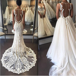 Wholesale Detachable Mermaid Wedding Dress Lace - Mermaid Bridal Dresses Jewel Sleeveless Sheer Neck Wedding Dresses Back Zipper With Applique With Detachable Tulle Overskirt Wedding Gowns