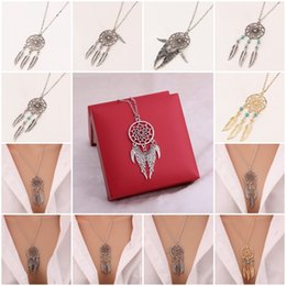 Wholesale Native American Fashions - Native American Lovely Dream Catcher Turquoise Pendant Long Chain Necklace 6 Styles Fashion Retro Jewelry Dreamcatcher B985L