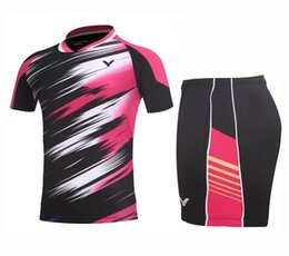 Wholesale Table Settings Black - New victor Badminton shirts wear sets clothes Jerseys,breathable quick-drying material table tennis Jerseys sport clothing shorts+ T-shirt