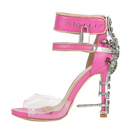 Wholesale White Jeweled High Heels - Designer Crystal Shoes Women Luxury Gemstone Jeweled Gladiator Sandals Pvc High Heels Woman Padlock Ankle Strap Rhinestone Sandals