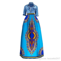 Wholesale Traditional Ball Gowns - African Bazin Riche Print Long Skirts Plus Size Dashiki African Traditional Clothes for Women Ball Grown Skirt