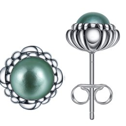 Wholesale Shell Pearl Studs - 925 Sterling Silver Blue Aquamarine March Birthstone Bloom Stud Earrings For Women Wedding Birthday Fashion Earring Jewelry