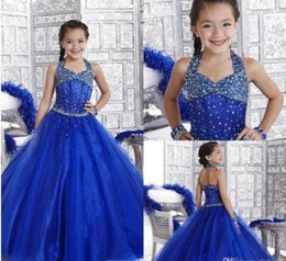 Wholesale Tulle Lace Up Wedding Halter - Stunning Royal Blue Girls Pageant Dresses 2016 Halter Beads Sash Puffy Tutu Flower Girl Dresses For Wedding Back Lace Up Kids Party Dress