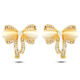 Wholesale Gold Studded Earrings - EuropeandAmericaMicro studded fashion new 2016 foreign trade hot selling full crystalbowknotcat's eye studs real gold plated earrings