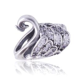 Cisnes pandora online-Hot Cute Swan encanto 925 Sterling Silver Europea encantos flotantes Fit Pandora Snake pulsera de cadena de joyería DIY envío gratis